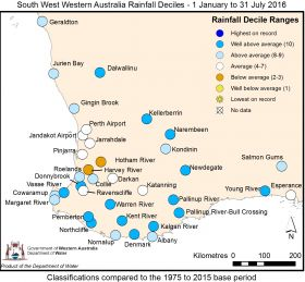 Map year to date rainfall July 2016