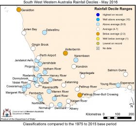 South West Western Australia Rainfall Deciles - May 2016