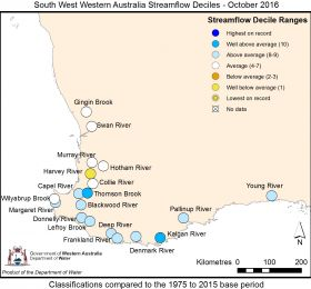 South West Western Australia streamflow October 2016