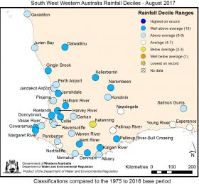 South West Western Australia Rainfall Deciles - August 2017