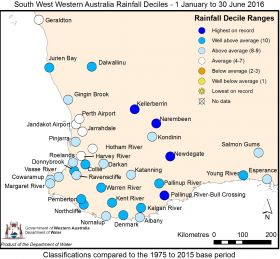 Map year to date rainfall June 2016