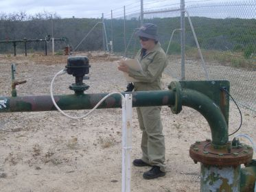 Department of Water officer inspecting a drinking water bore at Seabird