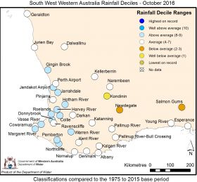 South West Western Australia Rainfall Deciles - October 2016