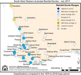 South West Western Australia Rainfall Deciles - July 2017