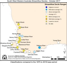South West Western Australia streamflow October 2017
