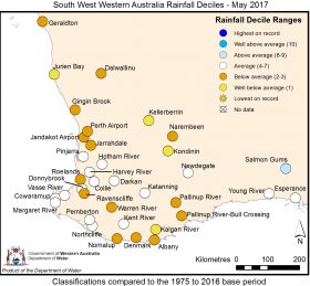 South West Western Australia Rainfall Deciles - May 2017