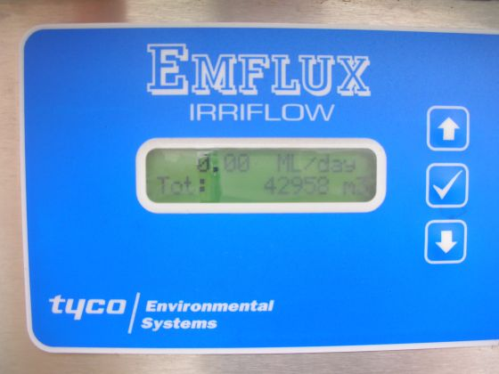 An Emflux meter showing a reading of 42958 kilolitres