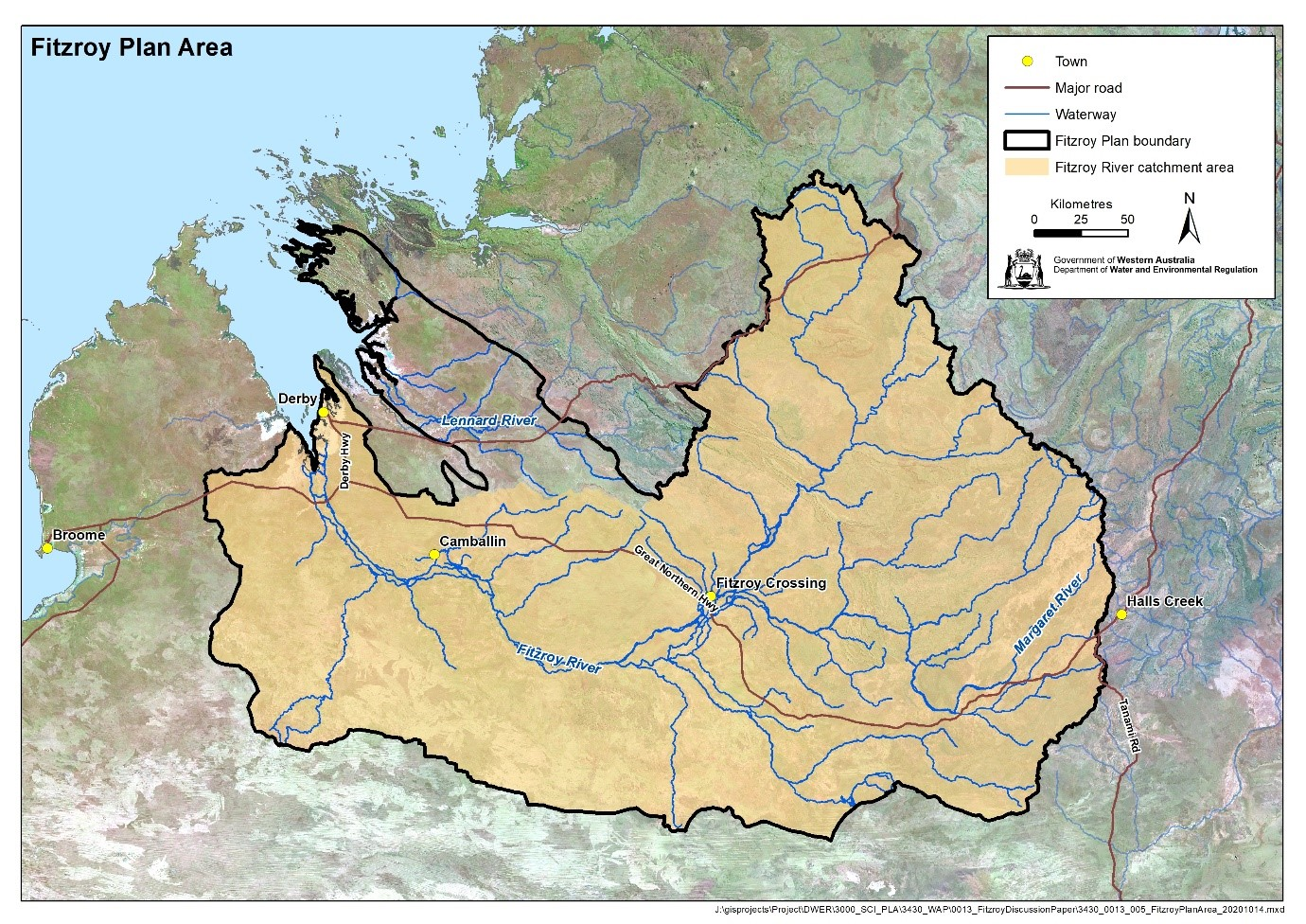 Planning area for the Fitzroy water allocation plan