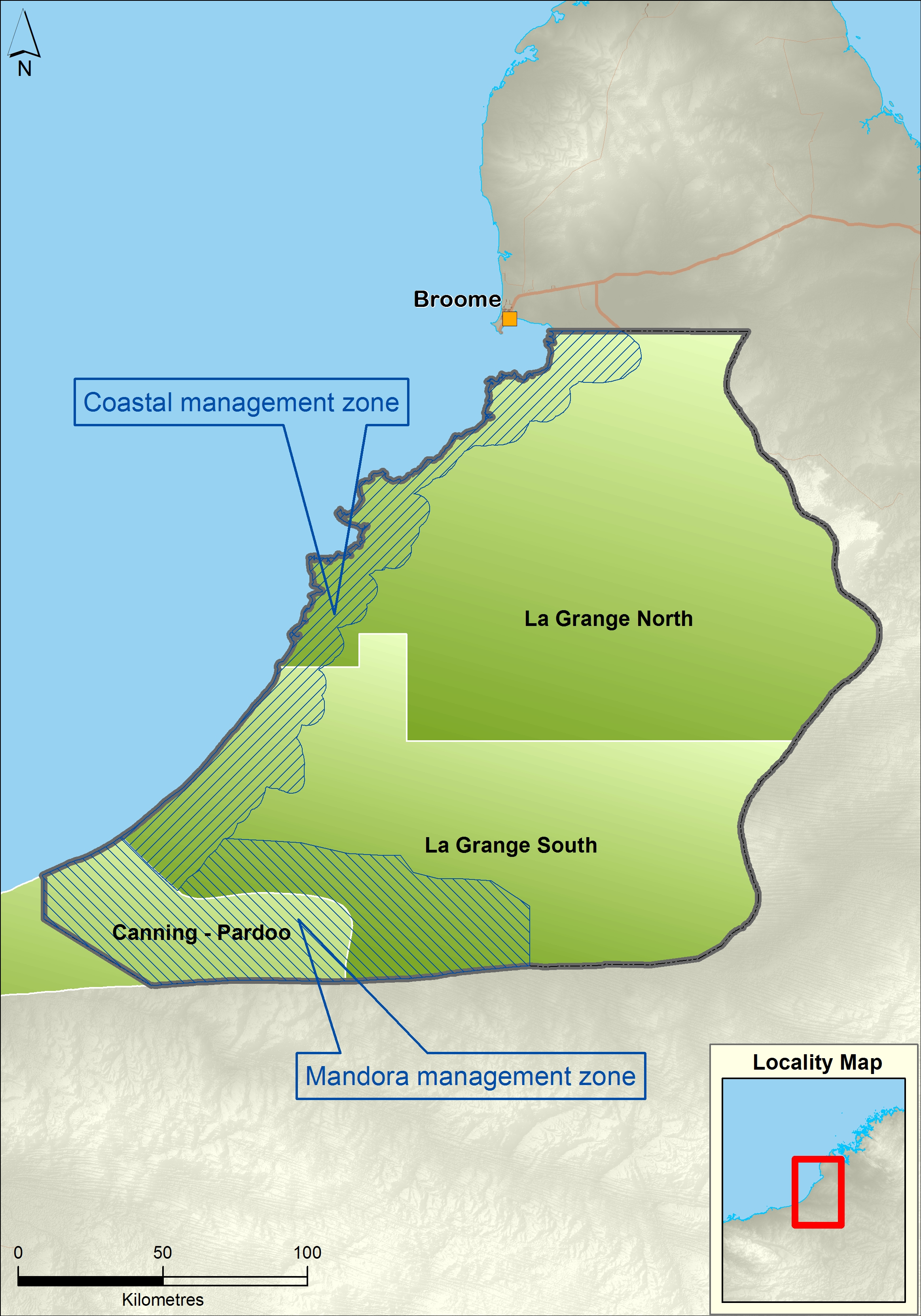 La Grange plan area, subareas and management zones