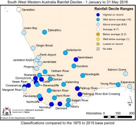 Map year to date rainfall May 2016