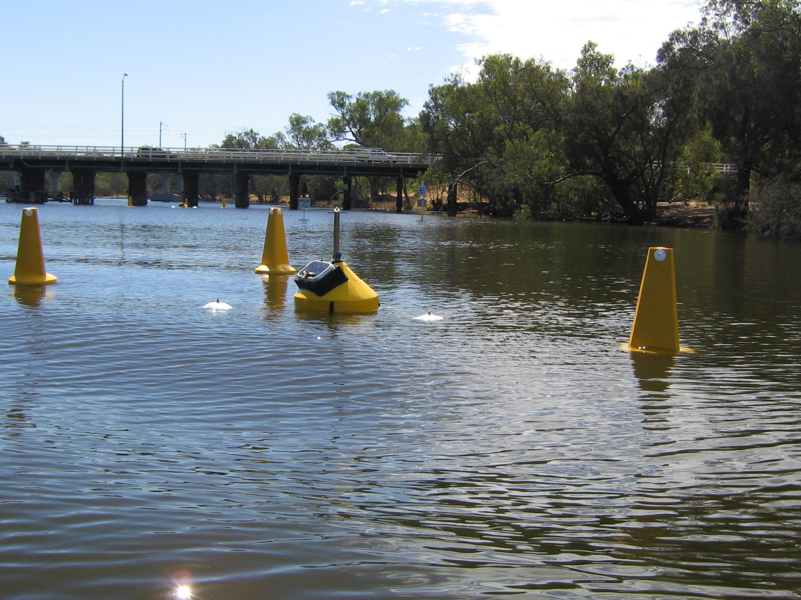 Monitoring buoys at the Guildford oxygenatino plant