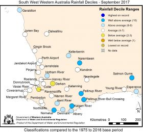 South West Western Australia Rainfall Deciles - September 2017